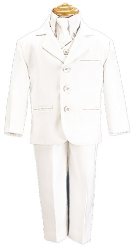 5 Piece White First Communion or Christening Suit with Shirt, Vest, and Tie (14 HUSKY) ()