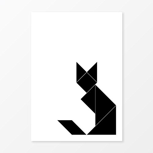 Tangram Black Cat Poster, Size 5x7, 8x10, 11x14, A5, A4 or A3, Great Minimalist Wall Art (Season 7 Modern Family Halloween)