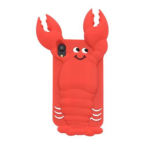 バドミントン哀れな品PLATA iPhone XR シリコン ケース 可愛い ロブスター スマホカバー 3D 立体 シリコンケース 柔らかい素材で 衝撃吸収 着脱も簡単 【 ロブスター 】