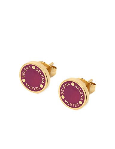 (Selena Jewelry) Enamel Color Disc Stud Earrings With Logo Coin Shaped Solid Yellow Gold Vine Red (Deluxe Package)