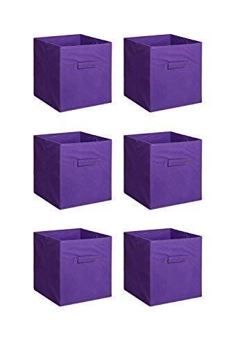 New Home Storage Bins Organizer Fabric Cube Boxes Shelf Basket Drawer Container Unit (6, Purple)