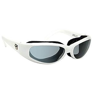 7eye Chubasco SharpView Sunglasses, White Glacier Frame, Polarized Gray Lens, Small/Large