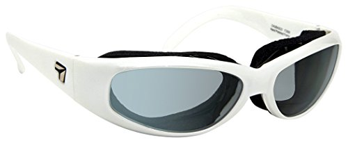 7eye Chubasco SharpView Sunglasses, White Glacier Frame, Polarized Gray Lens, Small/Large