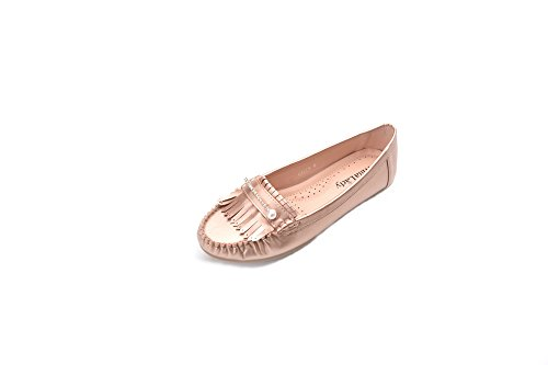 Greens Comfortable Causal Slip on Loafers Tassels Rhinestone Pearl Moccasin Driving Flat Shoes for Women Champagne