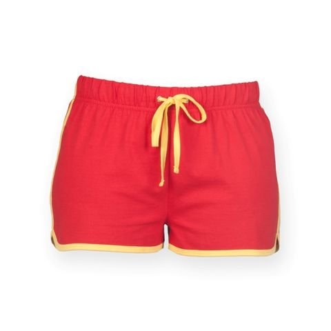 Skinni Fit Womens/Ladies Retro Training / Fitness Sports Shorts (M) (Red/ Yellow)]()
