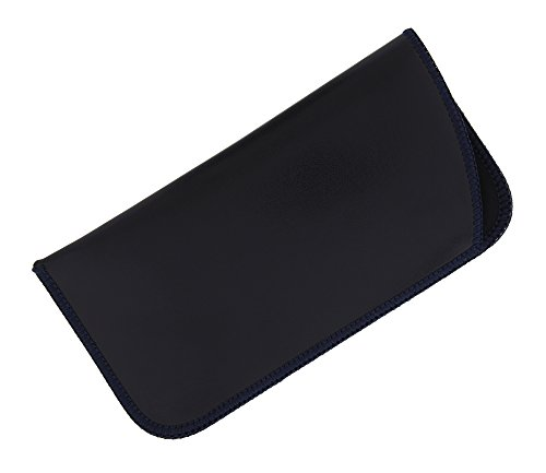 1 Pack Soft Faux Leather Slip In Eyeglass Case, Fits Medium to Large Frames, Navy (Mitts Ear Bandless)