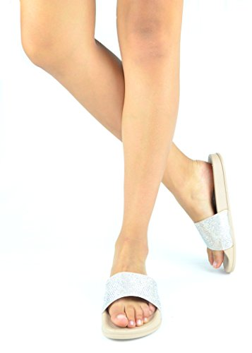 Chase & Chloe Furry-8 Fashion Flip Flop Flat Con Piccoli Strass Design Nude