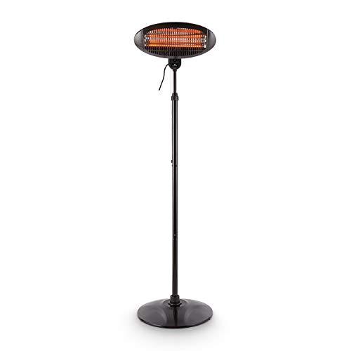 Blumfeldt Shiny Hot Roddy Estufa de terraza • Calefactor de pie Infrarrojo • Radiador de Calor para Patio • 2000 W MAX • 3 Tubos calefactores en Cuarzo • 3 ...
