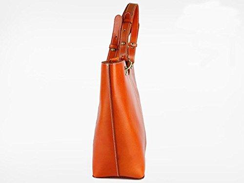 DJB/Vintage Leder Damen Tasche handbag-tanned Leder Handtasche Gelb-Braun