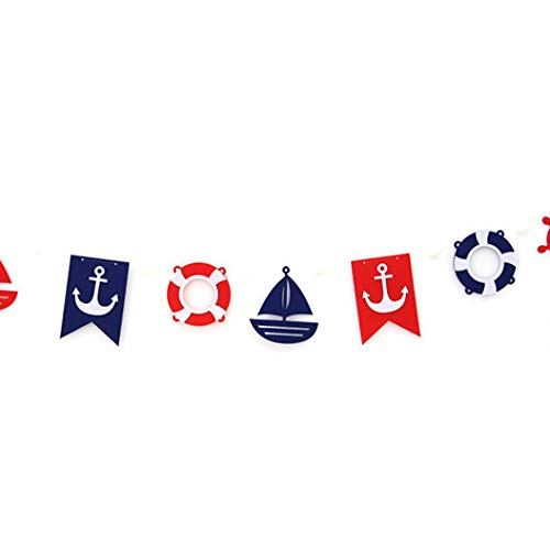 iMagitek Ocean Sailing Yacht Boat Nautical Party Bunting Pennant Banner for Nautical Themed Party, Kids Birthday Party, Baby Shower