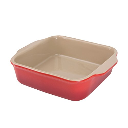 "American Bakeware Wild Cherry Red Square Casserole Baker 8""x9"", 1 quart, Ceramic Stoneware Made in the USA"