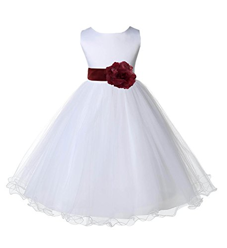 (Wedding Pageant White Flower Girl Rattail Edge Tulle Dress 829s 2)