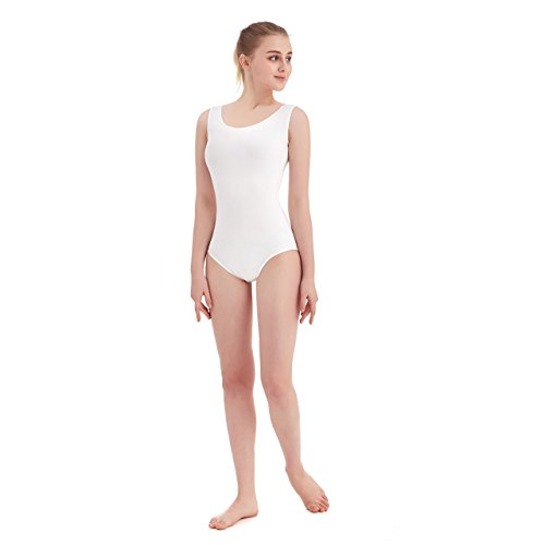 Women's Scoop Neck Lycra Spandex Sleeveless Tank Leotard (X-Large, White)