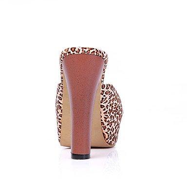 LvYuan Mujer-Tacón Robusto-Zapatos del club-Sandalias-Oficina y Trabajo Vestido Fiesta y Noche-Tejido PU-Negro Marrón Rojo Red