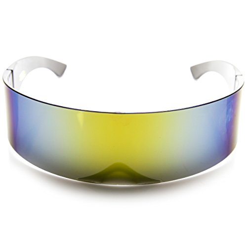 zeroUV - 80s Futuristic Cyclops Cyberpunk Visor Sunglasses with Semi Translucent Mirrored Lens (Sun) ()