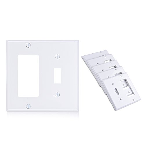 Single Combo Rocker (Cable Matters (5-Pack) Toggle Switch (Wall Switch Cover) Double Gang Wall Plate Cover for Decorator Device in White)