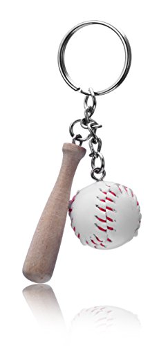 (REINDEAR Baseball & Wooden Bat Pendant Keychain US Seller (White))