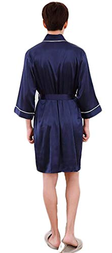 Vestaglia Pajama Da Accappatoio Moda Accogliente Leggero Uomo Notte Blu Camicia 8rRq8w