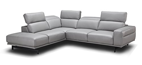 (J and M Furniture 17981-LHFC Davenport LHF Chaise Premium Leather Sectional Sleeper, Light Grey)