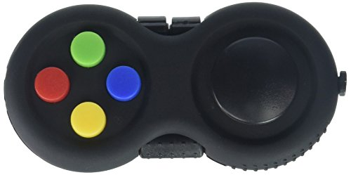 Fidget Pad - 9 Fidget Features (more than Fidget Cube) - Perfect For Skin Picking, ADD, ADHD, Anxiety and Stress Relief - Multi Color Rainbow on Black - Prime Ready and Shipped by Amazon - Cube Pad