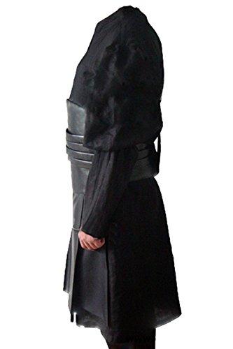 Allten Men's Cosplay Costume Black Linen Cotton Halloween Uniform Tunic Robe XXL by Allten (Image #1)