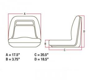 John Deere Riding Mower Deluxe High Back Seat Vinyl Waterproof with Pivot Rod Bracket Replaces AM121752, AM129969