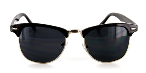 Retro Sun Sunglasses with Vintage Frames and Dark Tint for Modern, Stylish Men and Women (Black/Silver, 52)