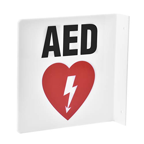 AdirMed AED Locator 90D Sign - Commercial Grade Wall Mounted Plastic - Easy Directions for Emergency Concerns for Office & Hospital 8