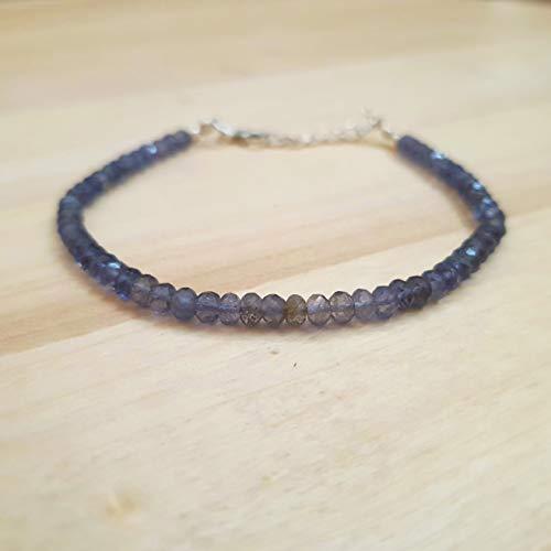 - Iolite Roundel Beads Bracelet Sterling Silver Blue Stacking Bracelet September Birthday Jewelry