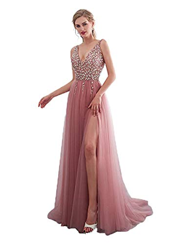 V Neck Long Wedding Party Dresses for Teens Birthday Sweet 15 Dress Prom Gowns Blush,24Plus