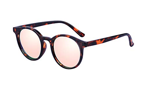 Kelens Vintage Retro Horn Rimmed Round Circle Sunglasses UV400 Protection Tortoise-pink/Mirrored ()