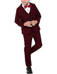 Fengchengjize Boy 3Pcs Plaid Suit Jacket Vest Pants Set Ceremonies Party