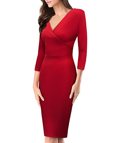 Women's Plum Cross V Neck Midi Dress KDR44322 1073T Red (Womens Ponte V-neck Dress)