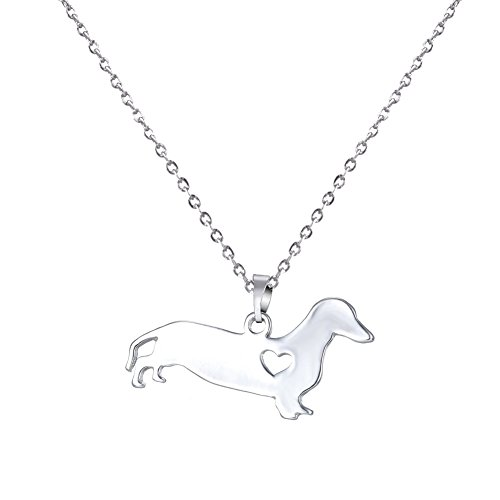 el I Love My Dog Lover Heart Outline Sitting Love Dog Paws Rescue Necklace (Dachshund) (Dachshund Rescue)