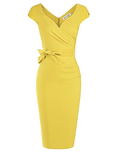 (MUXXN Womens Pinup Style Mermaid Bodycon Dresses Cap Sleeves Classic Dress (Yellow M))