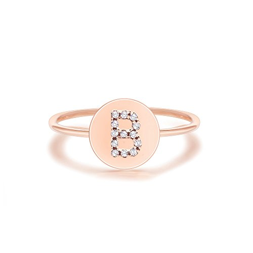PAVOI 14K Rose Gold Plated Initial Ring Stackable Rings for Women | Fashion Rings - B Ring