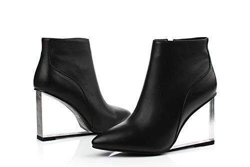 cuña Cuero Tamaño Transparentes Cortas Negro Martin Botas Cn 43 34 Mujer Mujer Alto Con Tacón De Para Gran YpntpAwSxq