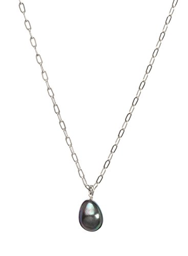 Dogeared Pearls of Friendship Black Baroque Pearl on Sterling Silver Chain 20