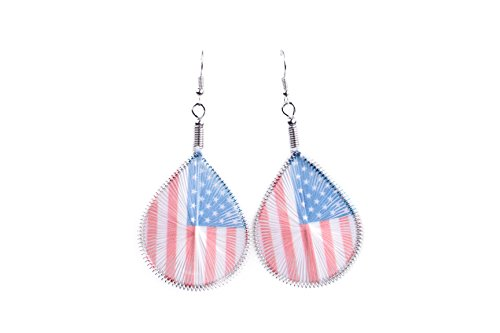 Luvalti Patriotic American USA Flag - Woven Thread Teardrop Earrings - Jewelry - In Day Independence Usa Sale