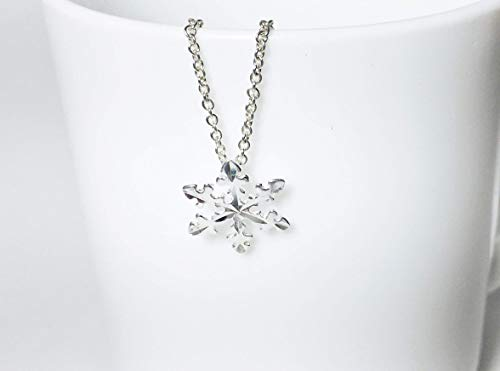 Snowflake Necklace.925 Sterling Silver Pendant Length 16