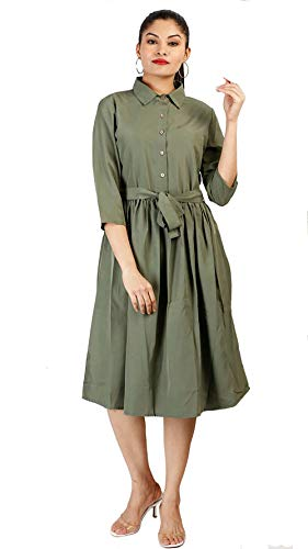 TREND BLASTER Women's Crepe Fit & Flare Olive Dress
