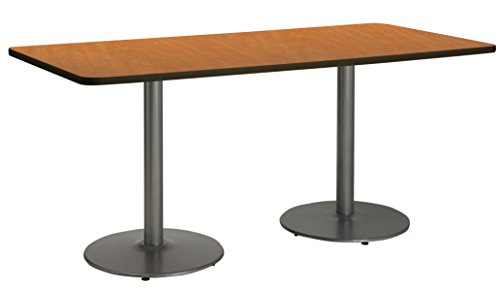 "UPC 810389023947, KFI Seating Pedestal Table with Top and Round Silver Base, 36"" by 72"", Medium Oak"