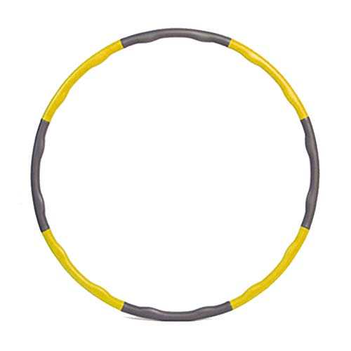 Kaiyuan Hula Hoop Removable Weight Loss Exercise Sports Fitness Equipment Foam Sponge Adults Kids (Yellow&Grey)