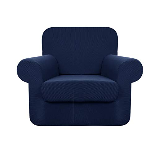 YUUHUM Stripes Chair Covers 2-Piece Super Stretch Sofa Covers Pet Dog Chair Slipcovers (Chair, Navy Blue)