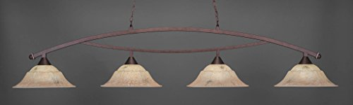 (Billiard Four Light Bow Bar Pendant with Italian Marble Glass in Dark Granite Finish: Bronze)
