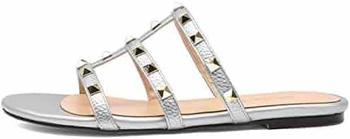 48357c83486 Chris-T Womens Open Toe Mules Sandal Flats Studs Flip-Flops Strappy Studded  Block