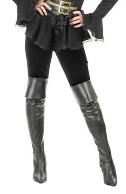 charades black thigh high pirate costume boot