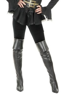 Charades Black Thigh High Pirate Costume Boot Tops S/M