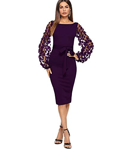 (SheIn Women's Elegant Mesh Contrast Bishop Sleeve Bodycon Pencil Dress X-Small Purple)