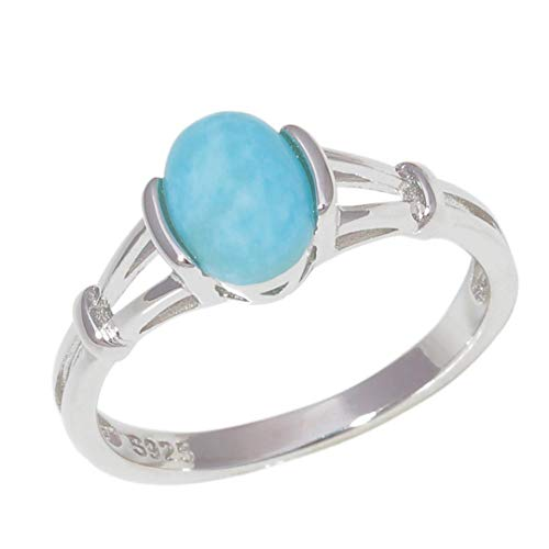 - MARRLY.H Natural Larimar 925 Sterling Pure Silver Rings Twilight Bella Vintage Ring Blue Round Ball Stone Women Girls Jewelry Gift Blue 7